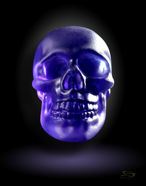 Blue Lead Crystal Skull
